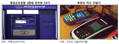 左为设置于平壤顺安国际机场的取款机,右为在朝鲜使用的刷卡机。(产业银行报告截图)