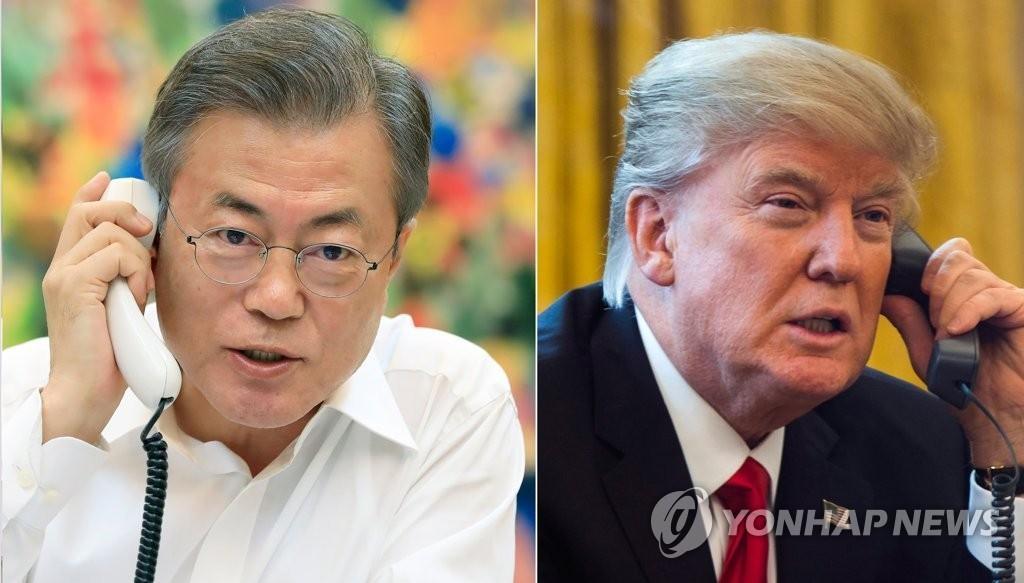 左为韩国总统文在寅,右为美国总统特朗普
