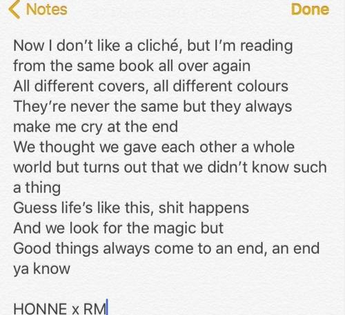 当地时间3月26日,英国独立乐队HONNE在Instagram上公开与RM合作的部分歌词。图为Instagram截图。(韩联社)