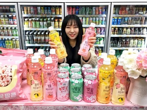 韩便利店樱花限量版饮料出口中国