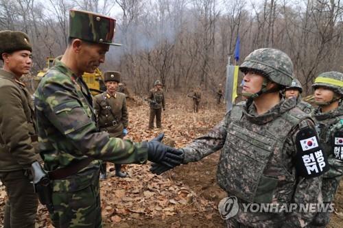 资料图片:2018年11月22日,在非军事区,韩朝为共同挖掘遗骸修建道路的人员握手致意。(韩联社/国防部供图)