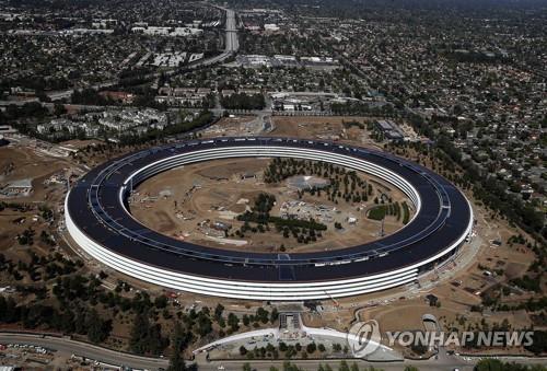 资料图片:利用100%的可再生能源提供动力的苹果总部(韩联社)