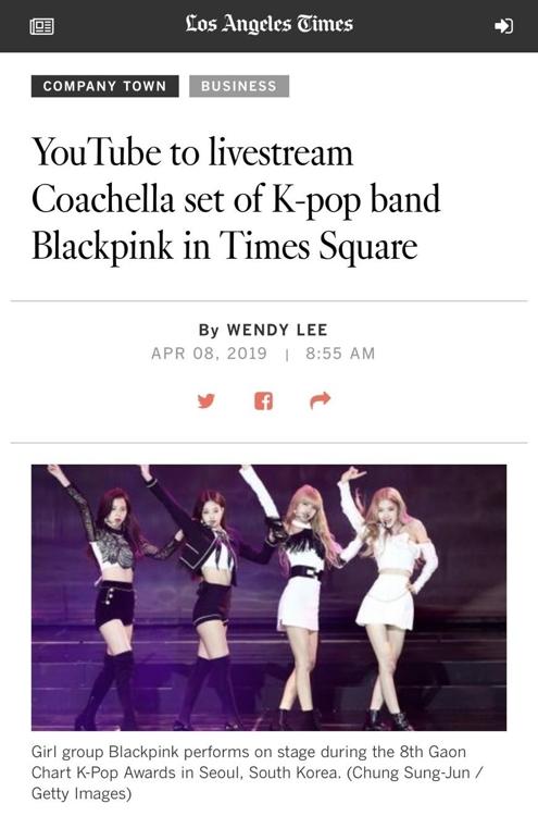 美国《洛杉矶时报》刊登的BLACKPINK消息(YG娱乐供图)
