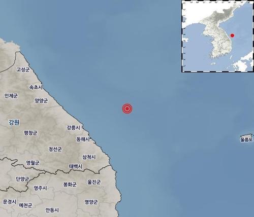 红色标注处为地震发生地点(韩联社/气象厅供图)