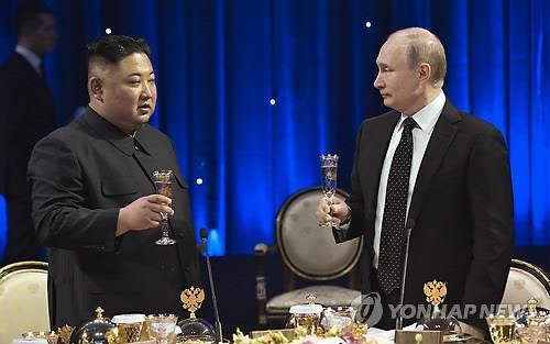 金正恩和普京共进晚餐。(韩联社/欧新社)