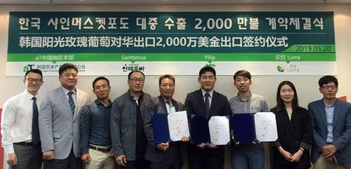 韩国果农与中国经销商签阳光玫瑰葡萄出口大单