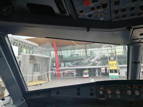 韩亚航空班机在华执飞遭遇冰雹机体受损