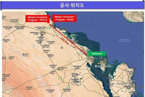 沙特马里安天然气厂位置 现代建设供图(图片严禁转载复制)