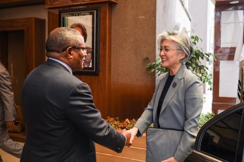 当地时间7月10日,在埃塞俄比亚首都亚的斯亚贝巴,外交部长官康京和(右)与埃塞俄比亚外长格杜·安达尔加丘举行会晤。 韩联社/外交部供图