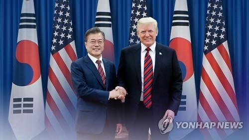 资料图片:文在寅(左)和特朗普