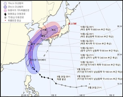 """台风""""米娜""""或10月3日登陆韩国"""