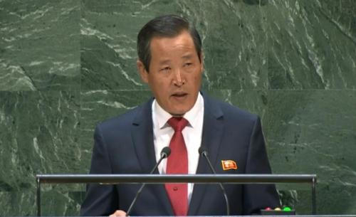 朝鲜常驻联合国代表金星大使出席第74届联合国大会一般性辩论并发表主旨演讲。 韩联社/联合国网络TV截图(图片严禁转载复制)