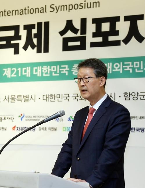韩联社社长赵成富致开幕辞。 韩联社