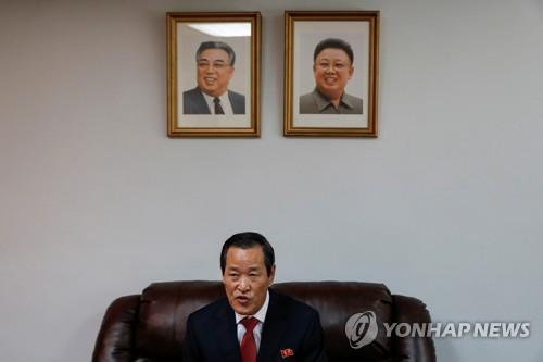 金星在朝鲜常驻联合国代表团召开记者会。 韩联社/路透社(图片严禁转载复制)