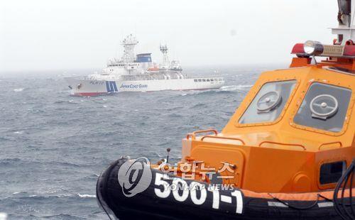 资料图片:日本巡逻艇出现在独岛近海。 韩联社