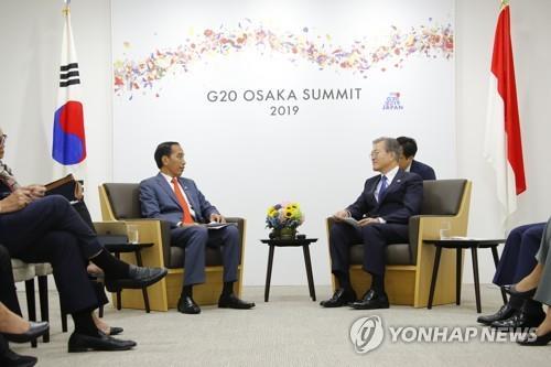 资料图片:韩国总统文在寅(右)与印尼总统佐科·维多多 韩联社