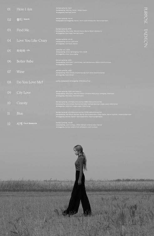 泰妍正规二辑收录曲目 韩联社/SM娱乐供图(图片严禁转载复制)