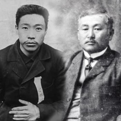 资料图片:安重根义士(左)和崔在亨 徐坰德供图(图片严禁转载复制)