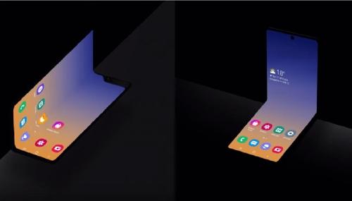 Galaxy Fold(左)和新款横向折叠屏手机。 韩联社/三星电子新闻中心(Newsroom)视频截图(图片严禁转载复制)