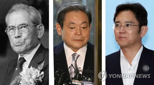 资料图片:左起依次为李秉喆、李健熙、李在镕。 韩联社