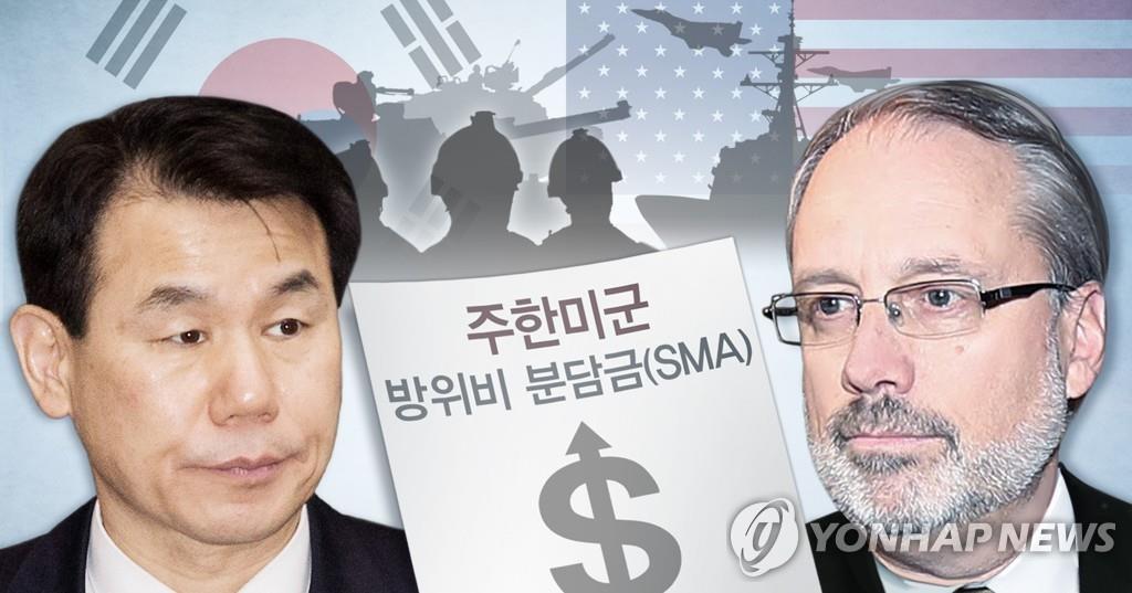 韩方首席代表郑恩甫(左)和美方首席代表詹姆斯·德哈特 韩联社