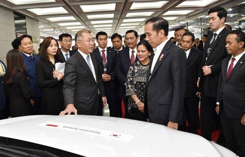 11月26日,在现代汽车蔚山工厂,印尼总统佐科(右)与现代汽车集团首席副会长郑义宣交谈。 韩联社/现代汽车供图(图片严禁转载复制)