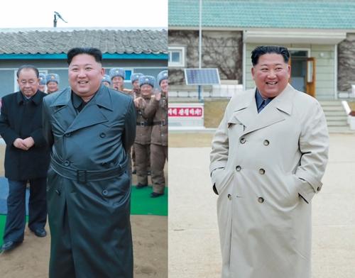 金正恩日前11月28日参观超大型火箭炮试射和11月25日视察驻昌麟岛部队时秀出不同以往的穿衣风格。 韩联社