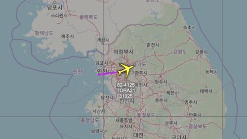 """RC-135W飞行轨迹 韩联社/""""飞机守望""""截图(图片严禁转载复制)"""