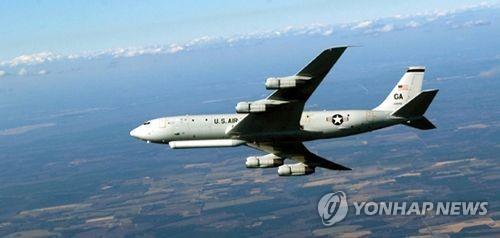 """资料图片:美国空军E-8C""""联合星""""侦察机 韩联社/美空军官网截图(图片严禁转载复制)"""