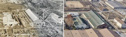 资料图片:日本陆军造兵厂(左)和现在的富平美军基地 仁川富平历史博物馆供图(图片严禁转载复制)