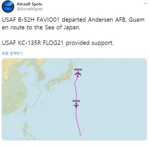 紫色长线为B-52H航迹 飞机守望推特截图(图片严禁转载复制)