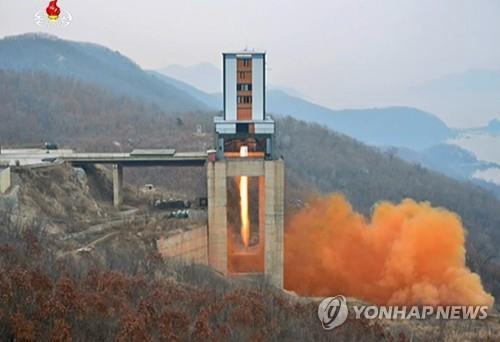 资料图片:图为2017年3月拍摄的朝鲜西海卫星发射场。 韩联社/朝中社(图片仅限韩国国内使用,严禁转载复制)