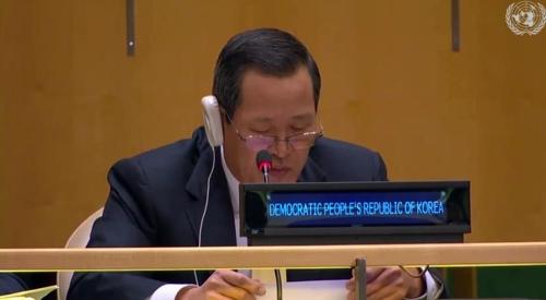 资料图片:朝驻联代表金星 韩联社/联合国Web TV截图(图片严禁转载复制)