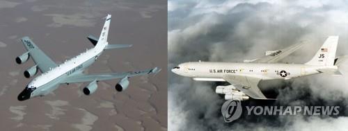 """RC-135W""""铆接""""(左)和E-8C""""联合星""""侦察机 韩联社/美空军官网截图(图片严禁转载复制)"""