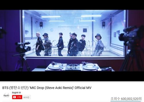 防弹少年团《MIC Drop》混音版MV播放量破6亿