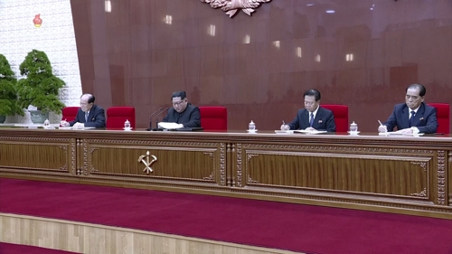 资料图片:朝鲜劳动党第七届中央委员会第三次全体会议现场,左一为朴奉珠。 韩联社/朝中社(图片仅限韩国国内使用,严禁转载复制)