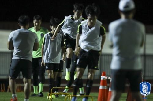 韩国U23男足代表队在训练。 大韩足球协会供图(图片严禁转载复制)