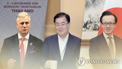 资料图片:左起依次是奥布莱恩、郑义溶、北村滋。 韩联社/韩联社TV供图
