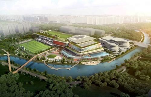 新加坡榜鹅体育中心鸟瞰图 现代建设供图(图片严禁转载复制)