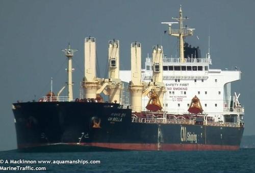 被印尼海军扣留的CH BELLA号货轮 MarineTraffic网站供图(图片严禁转载复制)