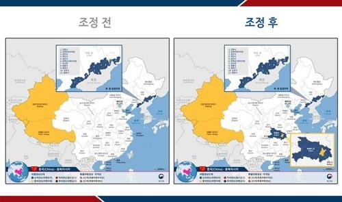 右图中黄色部分为韩国外交部发布的二级旅游安全预警地区。 外交部供图(图片严禁转载复制)