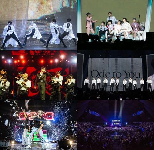 Seventeen北美巡演现场照 韩联社/经纪公司PLEDIS娱乐供图(图片严禁转载复制)