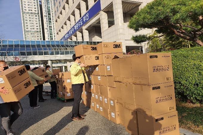 上海市政府向釜山市捐赠的口罩 釜山市政府供图(图片严禁转载复制)