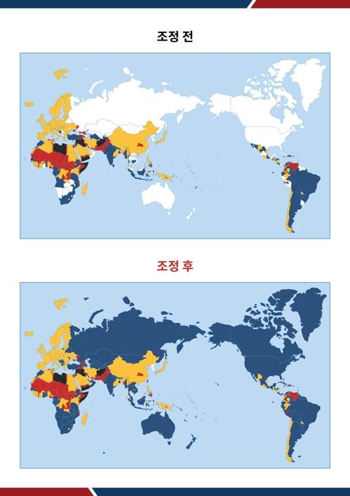韩国外交部将从19日起针对所有国家和地区发布旅游安全预警,下图为调整后的示意图。 韩国外交部供图(图片严禁转载复制)