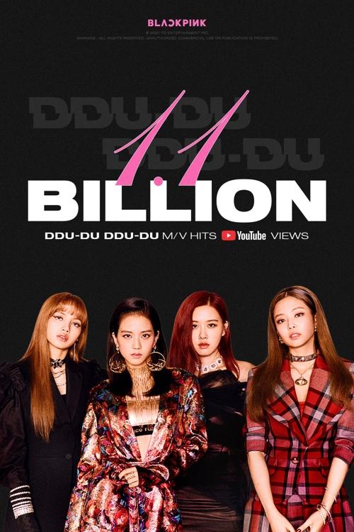 资料图片:BLACKPINK热曲《DDU-DU DDU-DU》MV播放量破11亿纪念照片 韩联社/YG娱乐供图(图片严禁转载复制)