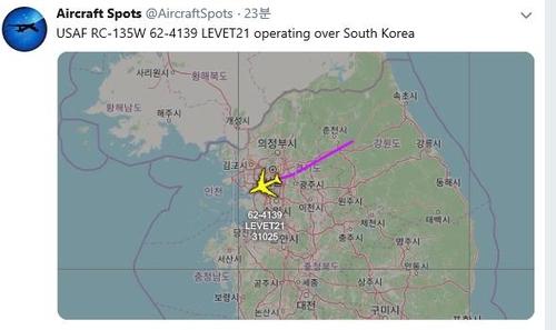 资料图片:美侦察机RC-135W的飞行轨迹 飞机守望推特截图(图片严禁转载复制)