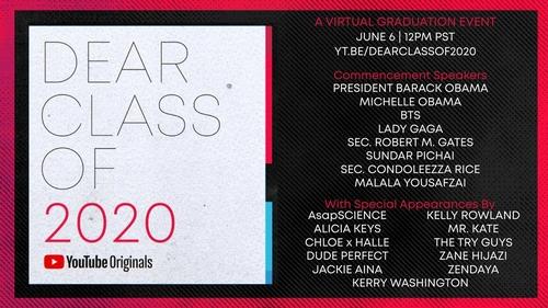"""""""Dear Class of 2020""""海报 韩联社/优兔供图(图片严禁转载复制)"""