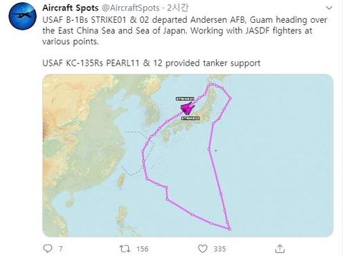 美国空军B-1B轰炸机再次飞临韩半岛