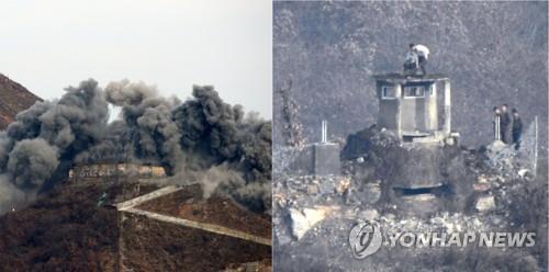 资料图片:左图为2018年11月15日江原道铁原郡中部战线哨所被拆除,右图为11日朝鲜中部战线哨所被拆除。 联合采访团/国防部供图