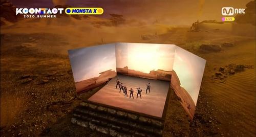 资料图片:MONSTA X在虚拟空间开唱。 CJ娱乐传媒供图(图片严禁转载复制)